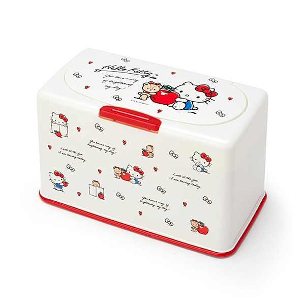 Sanrio 防塵按壓式口罩收納盒 HELLO KITTY 小熊&蘋果 白_161799
