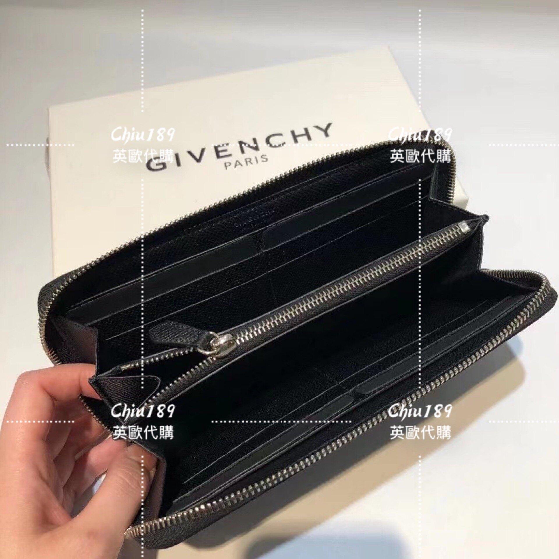 限時 滿3千賺10%點數↘   【Chiu189英歐代購】Givenchy 紀梵希 皮革 拉鍊長夾 17 黑