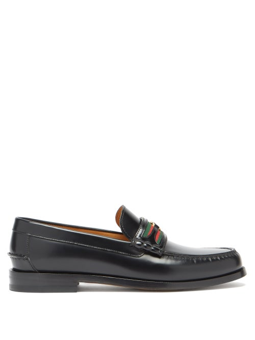 Gucci - Kaveh Web-striped Leather Loafers - Mens - Black