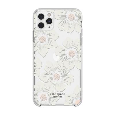 【kate Spade】iPhone 11 Pro 手機保護殼/套-蜀葵花+白色鑲鑽