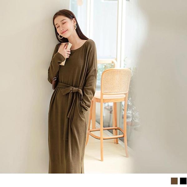 《DA8380-》純色保暖針織收腰綁帶開衩長袖洋裝 OB嚴選