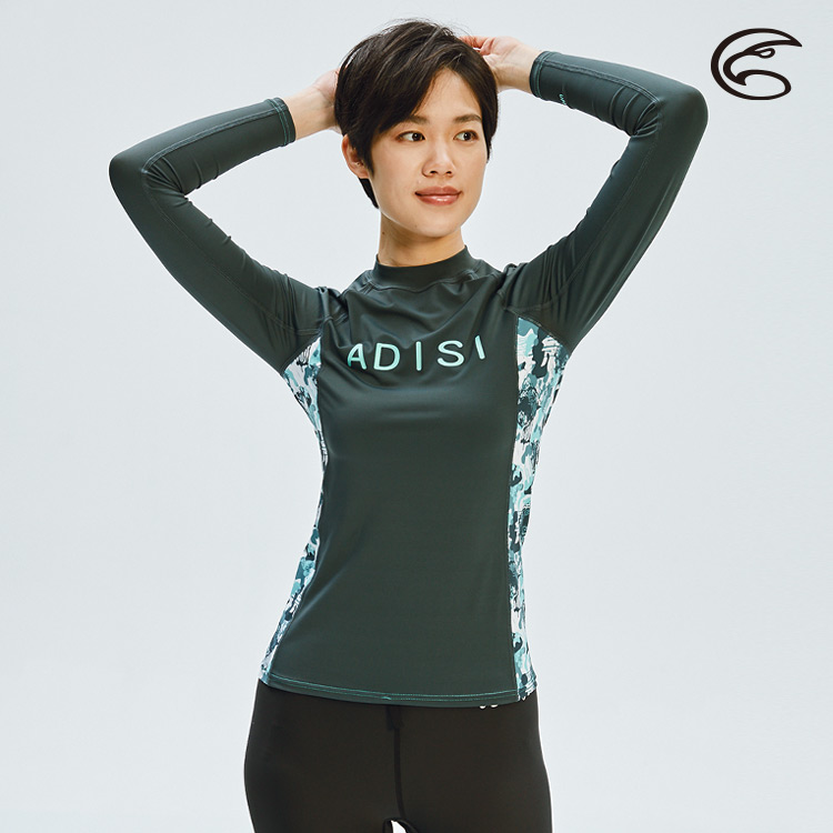 ADISI 女抗UV印花防磨防曬長袖上衣AR1913110 (S-2XL) / 城市綠洲 (防磨衣、水母衣、溯溪、浮潛、衝浪、水上活動)