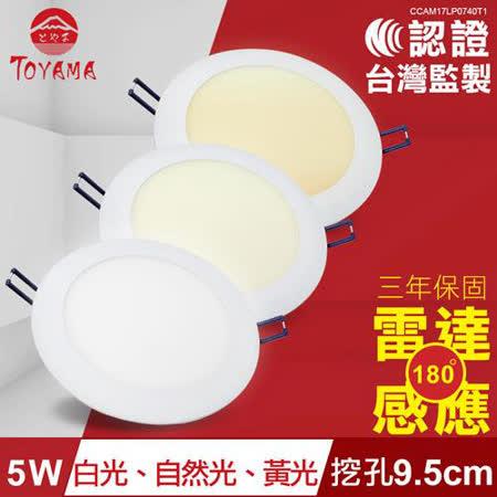 TOYAMA特亞馬 5W超薄LED雷達微波感應崁燈 挖孔尺寸9.5cm 白光、黃光、自然光任選