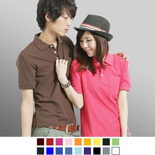 【男人幫】P0124*高磅數【混搭必備素面口袋短袖POLO衫】20色/可做筆插/印刷/團服
