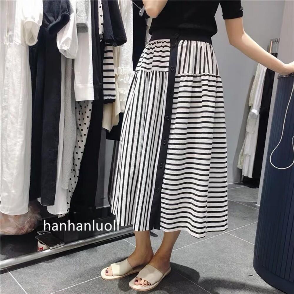 韓版設計款不對襯直條紋排釦長裙cntop