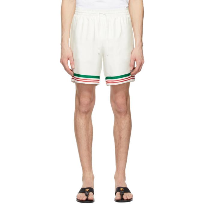 Casablanca 白色 Tennis 条纹真丝短裤