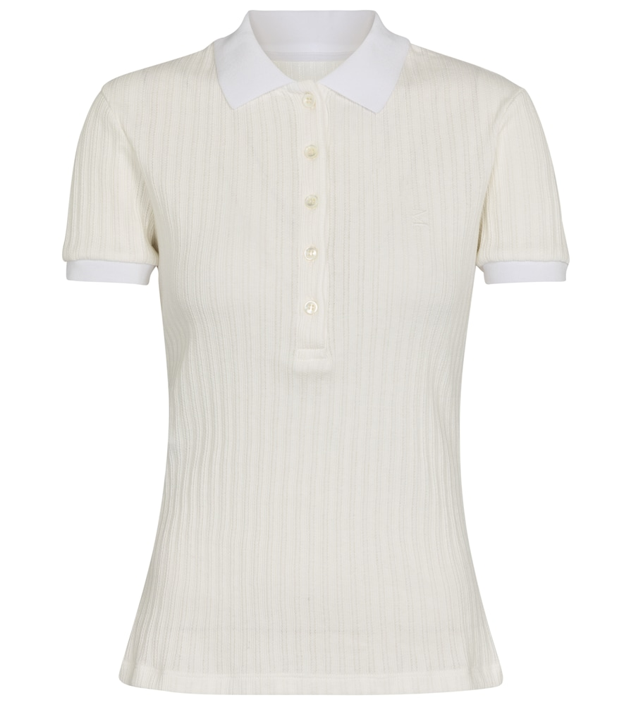 Ribbed-knit cotton polo shirt