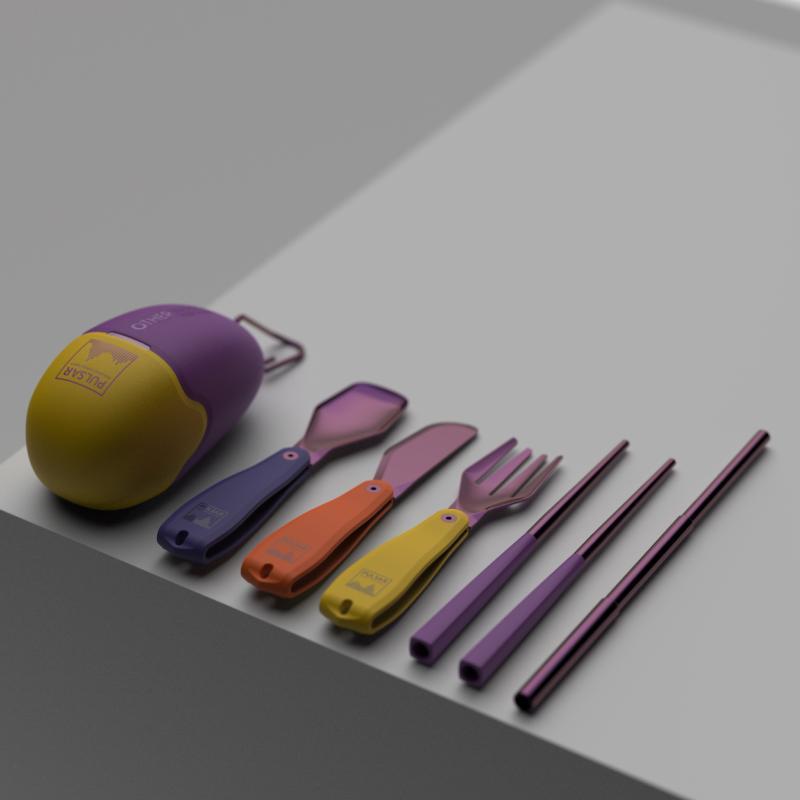 【預購】Pebble | 時尚聯名撞色餐具組 (多入組-4入) 質感霧面黑 (2入) + 聯名撞色款 (2入)