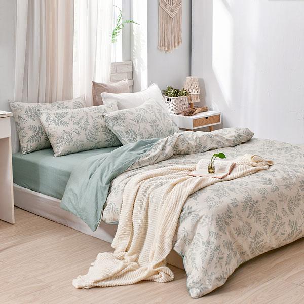 床包被套組(薄被套)-雙人加大/200織/ 精梳棉四件式 / 霧時之森 台灣製