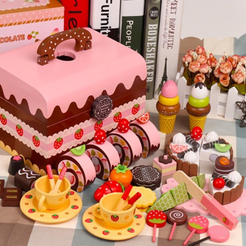 手提盒木製蛋糕切切 木製草莓蛋糕切切樂 木製巧克力蛋糕組 仿真蛋糕切切 木製下午茶 扮家家玩具