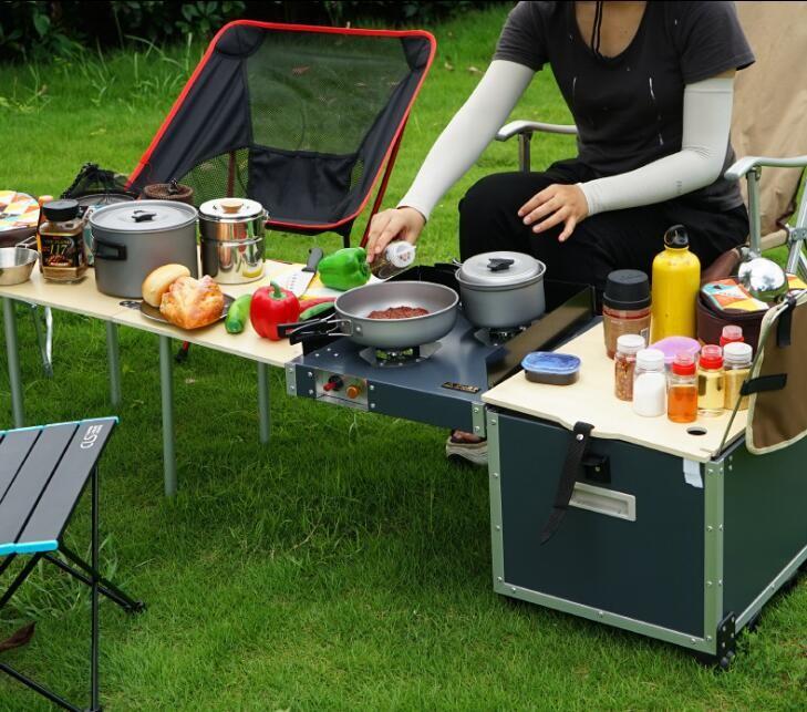 戶外移動廚房露營便攜折疊桌灶台爐具