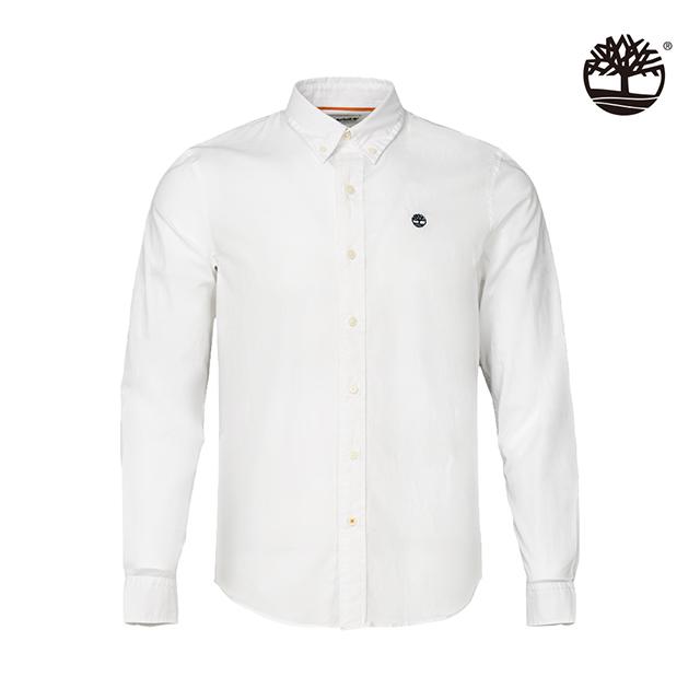 Timberland 男款白色水洗純棉彈性長袖襯衫|A2ERT100