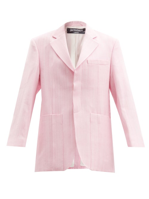 Jacquemus - Homme Oversized Single-breasted Linen Blazer - Womens - Light Pink
