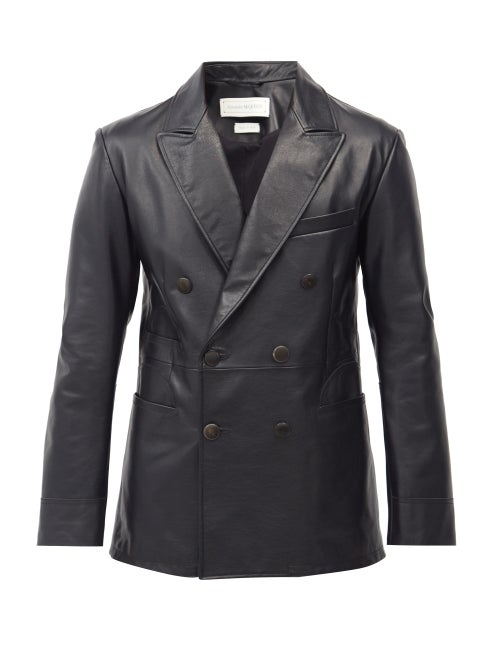 Alexander Mcqueen - Double-breasted Leather Jacket - Mens - Black