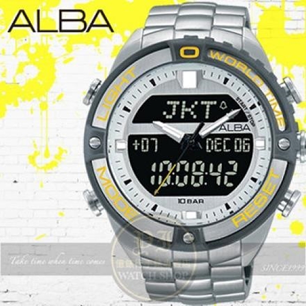 【南紡購物中心】ALBA 劉以豪代言ACTIVE系列潮流特搜雙顯示電子腕錶N021-X003Y/AZ4019X1公司貨