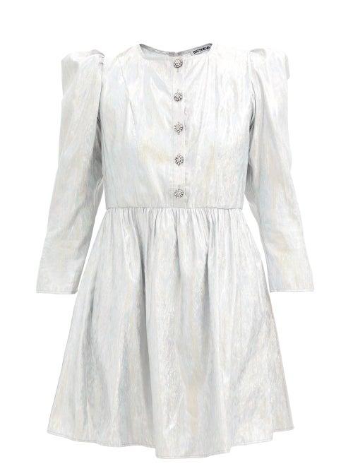Batsheva - Crystal-button Metallic Twill Mini Dress - Womens - Silver