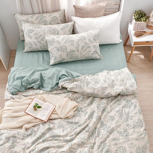 床包被套組(薄被套)-單人/200織/ 精梳棉三件式 / 霧時之森 台灣製