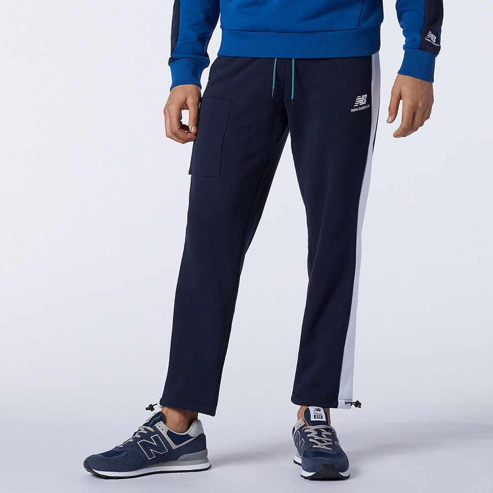 【領券最高折$400】New Balance 男裝 長褲 休閒 刷毛 拉鍊口袋 縮口 藍【運動世界】AMP11501ECL