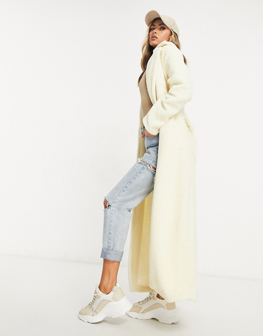 Parisian tie waist borg midaxi coat in cream-White