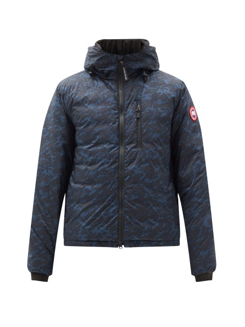 Canada Goose - Lodge Camouflage-print Quilted Down Hooded Jacket - Mens - Navy
