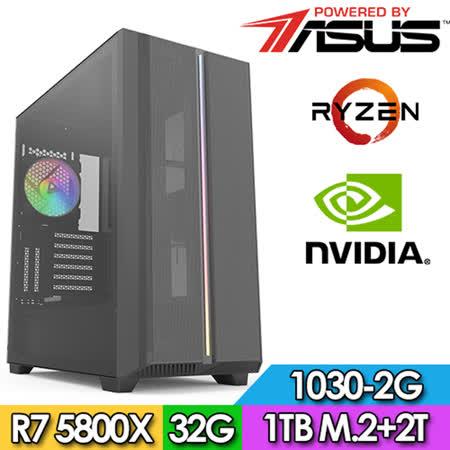 華碩X570平台【神依槍使】R7八核 GT1030-2G獨顯電玩機(R7-5800X/32G/2TB/1TB_SSD/GT1030-2G)