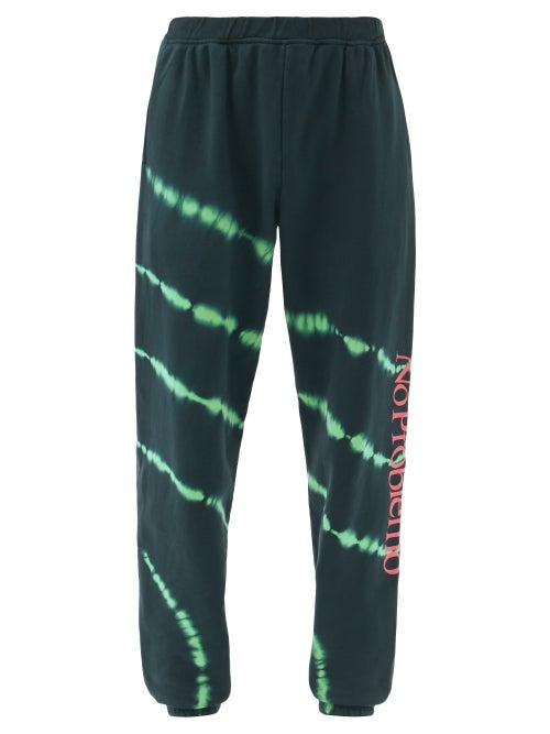 Aries - No Problemo Tie-dye Cotton-jersey Track Pants - Mens - Black Green