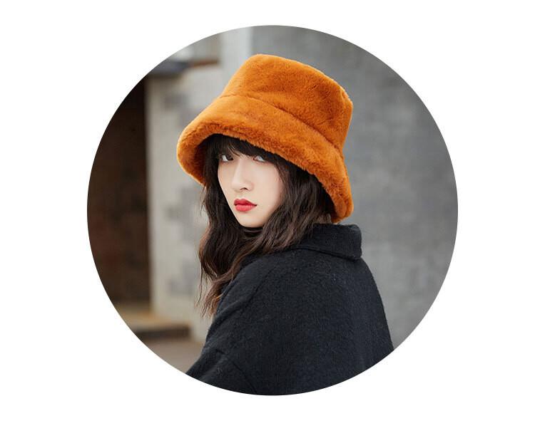 日本 beautyjapan 羊毛絨保暖時尚盆帽漁夫帽0195焦糖色