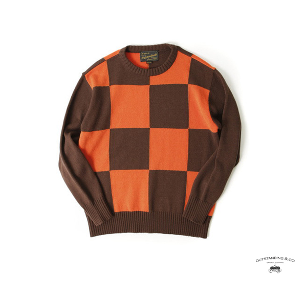 Outstanding Co. 70's CHECKERBOARD KNIT 摩托車棋盤格毛料針織上衣