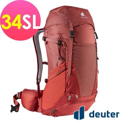 【deuter 德國】FUTURA PRO  34SL 透氣網架背包3401021岩漿紅/登山包/健行包/戶外休閒包*