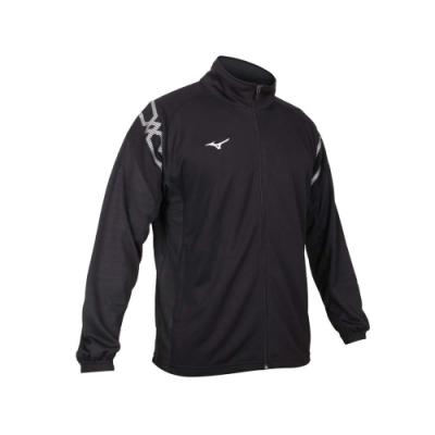 MIZUNO 男針織運動外套-立領外套 美津濃 吸濕排汗 抗UV 慢跑 路跑 32TC103209 黑白
