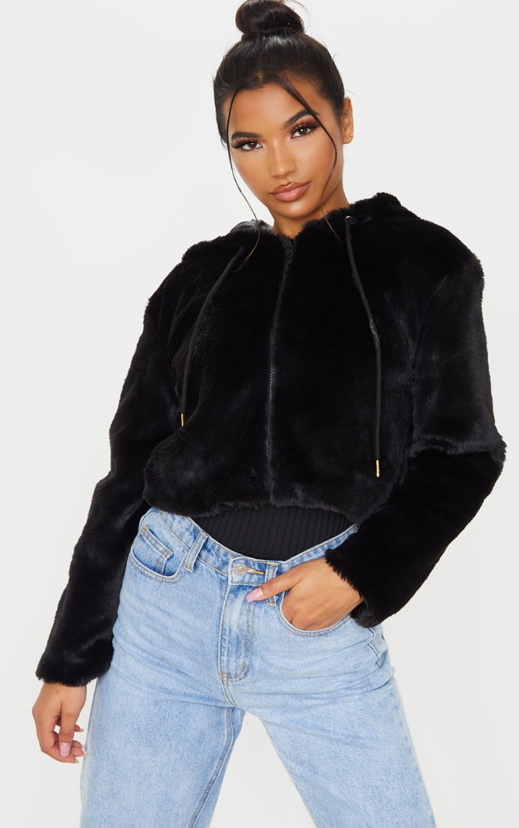 Black Faux Fur Cropped Hooded Jacket