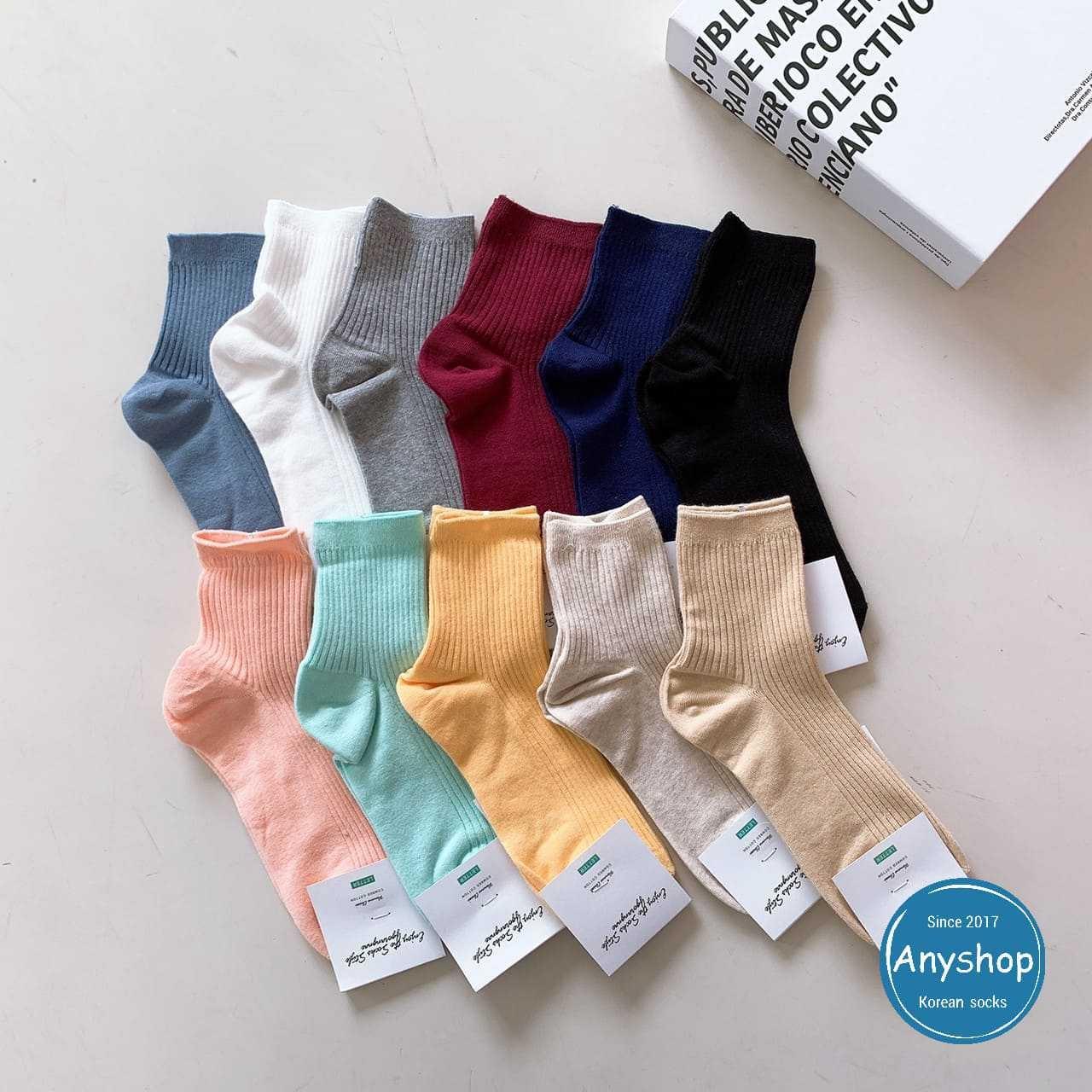 韓國襪-[Anyshop]經典200針素色中筒襪