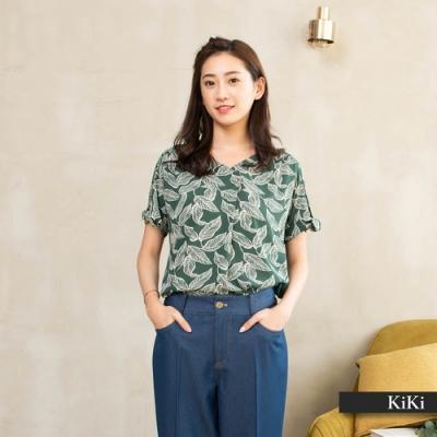 【KiKi】樹陰印花款式-襯衫(綠色/版型適中)