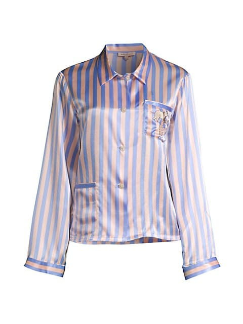 Ruthie Striped Silk Blend Pajama Top