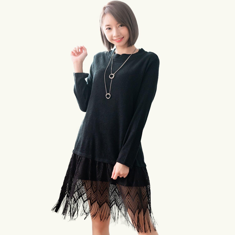 連身裙--顯瘦保暖針織加絨素面下擺拼接流蘇圓領長袖長上衣(黑.紅L-3L)-X431眼圈熊中大尺碼