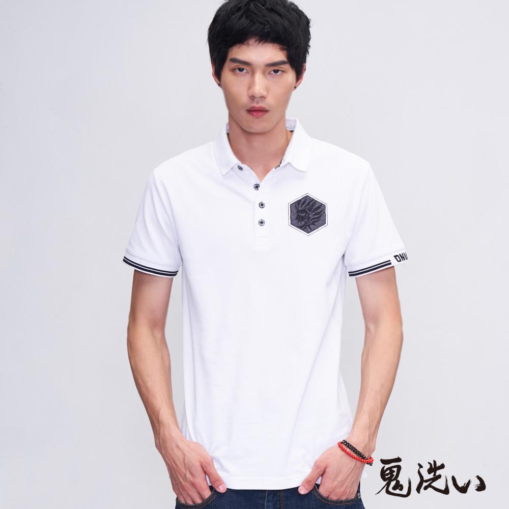 【3件8折】六角鬼頭繡花涼感POLO衫(白)- BLUE WAY 鬼洗い