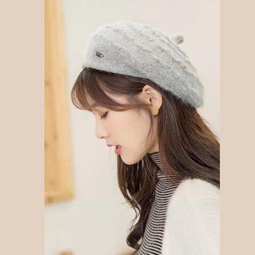 日本 BEAUTYJAPAN 兔毛抗寒雙層保暖貝雷帽0056灰