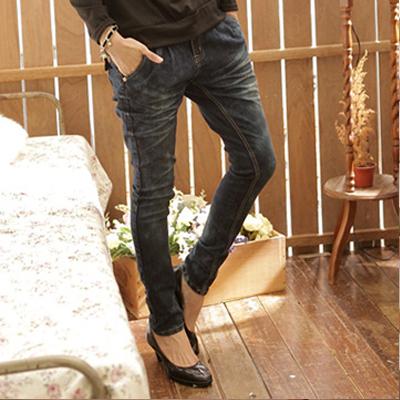 牛仔褲--經典剪裁纇哈倫褲勻染中腰窄管牛仔褲(S-7L)-N39眼圈熊中大尺碼
