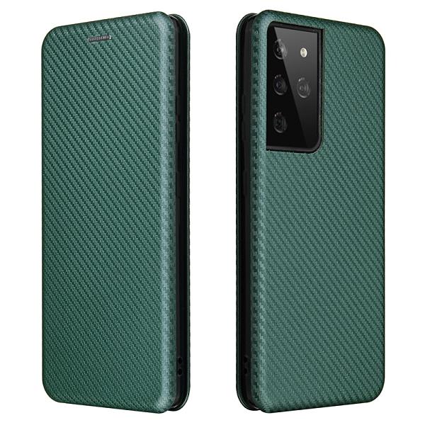 日韓Galaxy S21+保護套 商務創意三星S21 Ultra手機殼 SamSung S21翻蓋手機套 碳纖維簡約三星S21保護殼