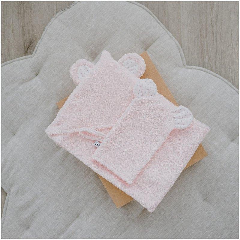 套裝:嬰兒或幼兒用連帽毛巾和手套粉色套裝
