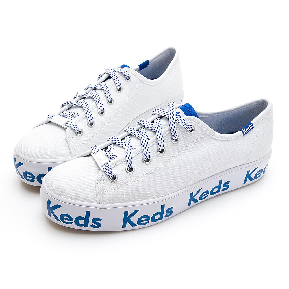 TRIPLE KICK 經典Keds LOGO厚底綁帶帆布鞋-白