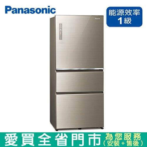 Panasonic國際610L三門變頻玻璃冰箱NR-C611XGS-N含配送+安裝【愛買】