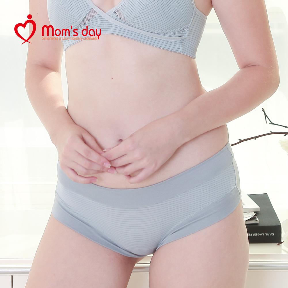 韓國Mom's Day 條紋孕婦低腰內褲-灰色