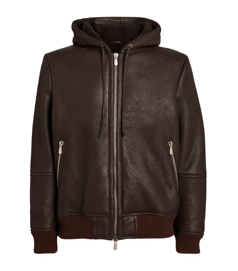 Eleventy Leather Hooded Jacket