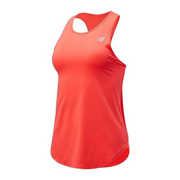 New Balance 女裝 背心 慢跑 DRY 彈性 透氣 橘紅【運動世界】WT11451VCO