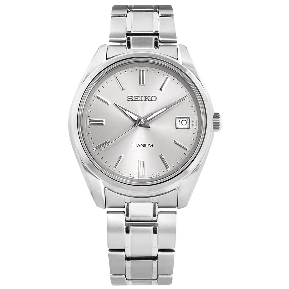 SEIKO 精工 超輕量 簡約時尚 藍寶石水晶玻璃 日期 鈦金屬手錶 銀色 6N52-00B0S 40mm 廠商直送