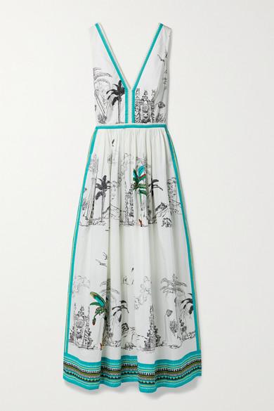 Le Sirenuse Positano - Sophia 印花纯棉府绸超长连衣裙 - 白色 - IT42