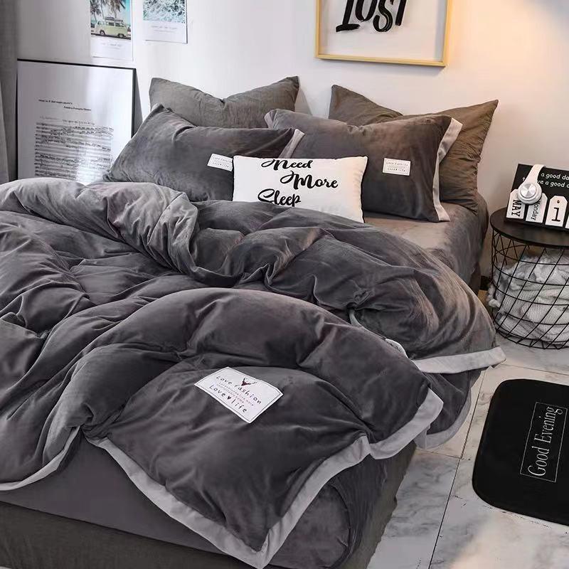 新品 現貨冬季加厚珊瑚絨水晶絨四件套保暖雙面法蘭絨被套三件套床上用品笠 加絨 法蘭冬季加厚保暖床包 鋪床單人厚