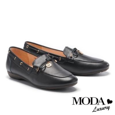 低跟鞋 MODA Luxury 舒適通勤蝴蝶結點綴全真皮樂福低跟鞋-黑