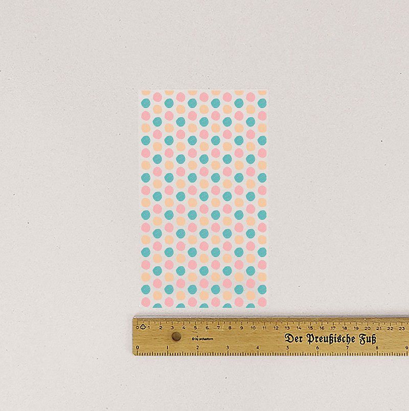 布用粉藍圓圈點點燙印貼 | 手帳素材